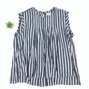 Madewell S/L Striped Pleated Hi-Lo Blouse Top